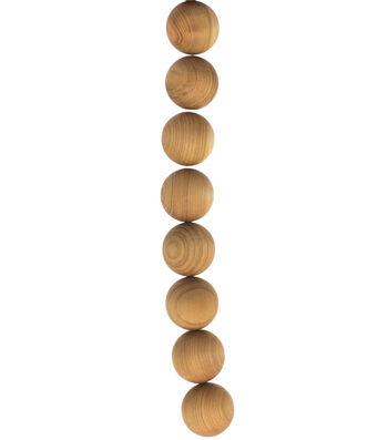 """hildie & jo 8"""" Strung Bead Cedar Wood Round-20mm Natural"""