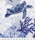 Anti-Pill Plush Fleece Fabric-Turtle Sea Life Blue