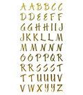 Sticko 161 pk Small Brush Stroke Alphabet Stickers-Gold Foil
