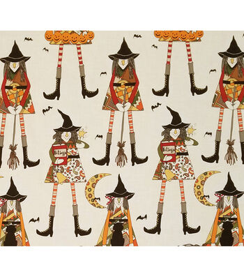 """Halloween Cotton Fabric 45""""-Witches in Stitches"""