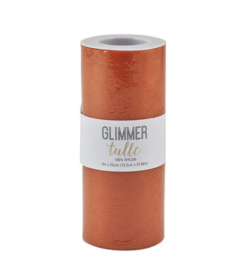 "Glimmer Tulle Spool 6""x25yd-Autumn Maple"