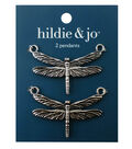 Blue Moon Beads Metal Pendant 51x34mm, Dragonfly, Antique Silver