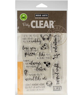 Hero Arts 15 pk Clear Stamps-I Love You More than Pizza
