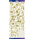 Sticko Mural Script Dimensional Glitter Alphabet Stickers-Gold