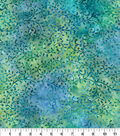 Indonesian Batik Cotton Fabric-Swirl Vines Teal