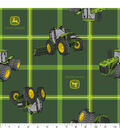 John Deere Polyester Fabric -Tractors on Square Plaid