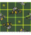 John Deere Polyester Fabric 43\u0022-Tractors on Square Plaid