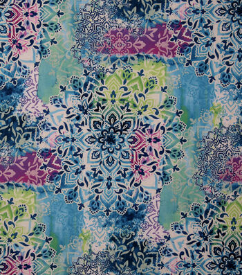 Stretch Chiffon Fabric 57''-Multicolor Medallions