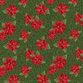 Christmas Cotton Fabric-Poinsettia & Green Scrolls