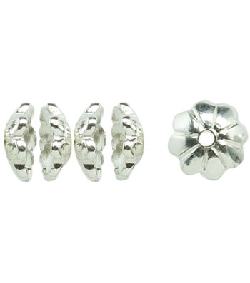 Silver Plated Metal Findings-Melon Spacer Beads 12/Pkg