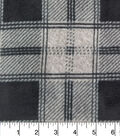 Luxe Fleece Fabric 59\u0027\u0027-Black Grey Heather Buffalo Check