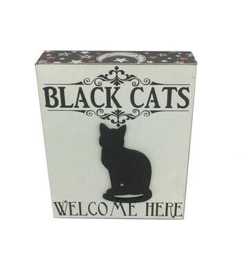 Maker's Halloween Word Block-Black Cats, Welcome Here
