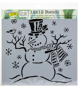 "Crafter's Workshop Template 12""X12""-Mr Snowman"