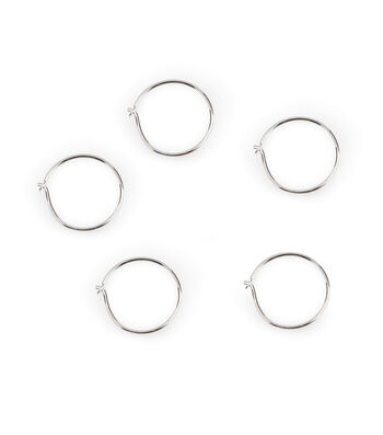 Sterling Silver Plated 5 pk 16 mm Wire Hoops