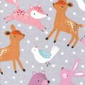Nursery Flannel Fabric-Bear Gray Dots And Friends