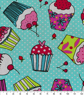 Novelty Cotton Fabric 43''-Cupcake on Dots