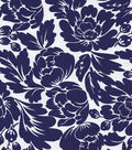 Sateen Fabric-Floral Silhouette Navy/White