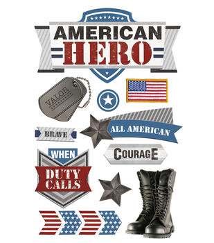 Paper House 4.5''x8.5'' 3D Stickers-American Hero