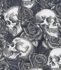 Halloween Cotton Fabric-Skulls & Roses