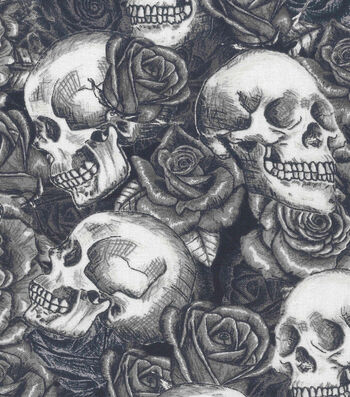 "Halloween Cotton Fabric 43""-Skulls N Roses"