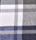 Plaiditudes Brushed Cotton Fabric -White, Gray & Blue Grid Check