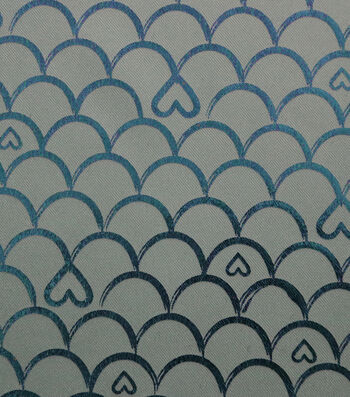 Glitterbug Fabric 31''-Turquoise Printed Scallop with Hearts