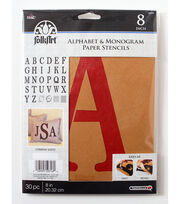 FolkArt 30 pk 8'' Alphabet & Monogram Paper Stencils-Serif Font, , hi-res