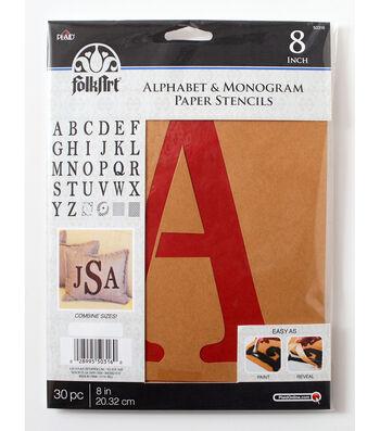 FolkArt 30 pk 8'' Alphabet & Monogram Paper Stencils-Serif Font