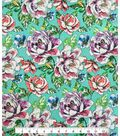 Knit Fabric 57\u0027\u0027-Floral Sketch on Aqua