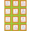 Themed Stamped White Quilt Blocks 9\u0022X9\u0022 12/Pkg-Owls