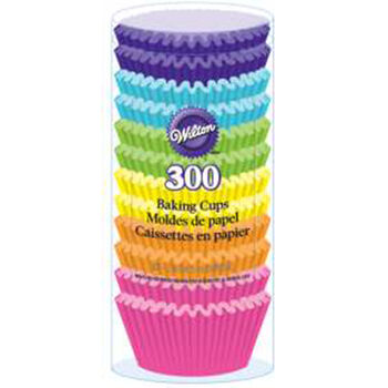 Wilton Standard Baking Cups-Rainbow Brights 300/Pkg
