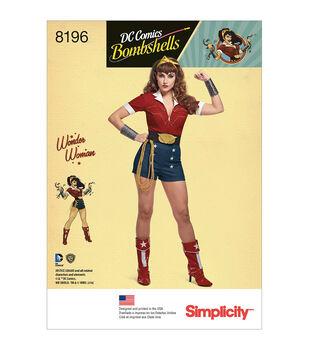Simplicity Pattern 8196 Misses' Wonder Woman Costume-Size R5 (14-22)