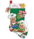 Design Works Crafts 18\u0027\u0027 Stocking Applique Felt Kit-Gingerbread Bakers