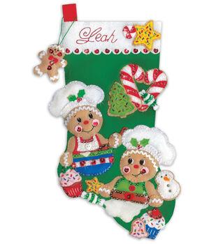 Design Works Crafts 18'' Stocking Applique Felt Kit-Gingerbread Bakers