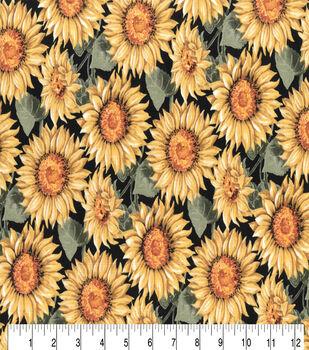 Harvest Cotton Fabric-Large Sunflowers On Black