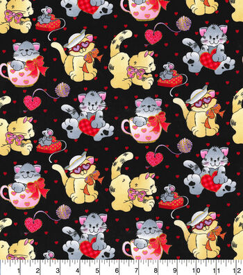 Valentine's Day Cotton Fabric-Valentine Kittens