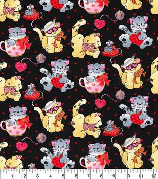 Valentine's Day Cotton Fabric-Valentine Kittens
