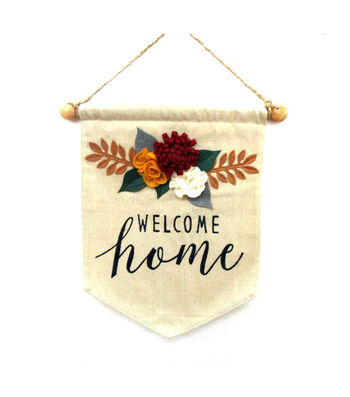 Simply Autumn Linen Banner-Welcome Home