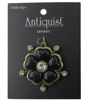 hildie & jo Flower Antique Gold Pendant-Black & Clear Crystals, , hi-res