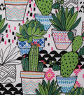 Novelty Cotton Fabric 43\u0027\u0027-Bright Cactus in Pots