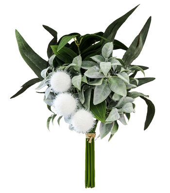 Blooming Autumn Leaves & Pom Pom Bouquet-Green