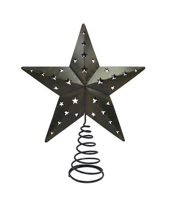 Maker's Holiday Tree Topper-Woodland Rusted Metal Star