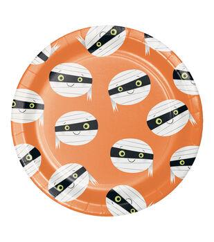 Maker's Halloween 8 pk 8.88'' Dinner Plates-Mummy Faces