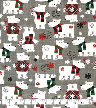 Super Snuggle Flannel Fabric-Polar Bears in Sweaters