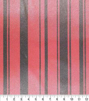 Silky Polyester Spandex Satin Fabric-Red & Black Stripe