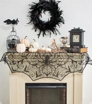 Maker's Halloween 60''x22'' Mantle Scarf-Spiders