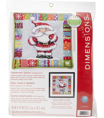 """Dimensions Needlepoint Kit 14""""X14""""-Patterned Santa Stitched In Yarn"""