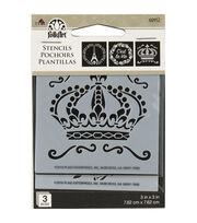 FolkArt 3 pk 3''x3'' Mini Stencils-French Crown, , hi-res