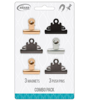 The Board Dudes 6 pk 1.5'' Magnetic Clips & Push Pins