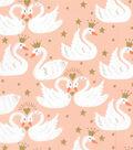 Novelty Cotton Fabric 43\u0022-Royal Swans
